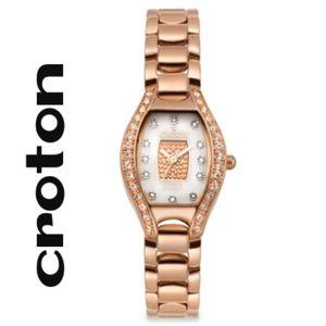 Croton Stainless Steel Rosetone Bezel Watch New!